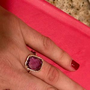 14k diamond and large amethyst ring